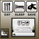 Eishockey Wandtattoo EAT-SLEEP-SAVE