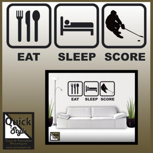 Eishockey Wandtattoo EAT-SLEEP-SCORE