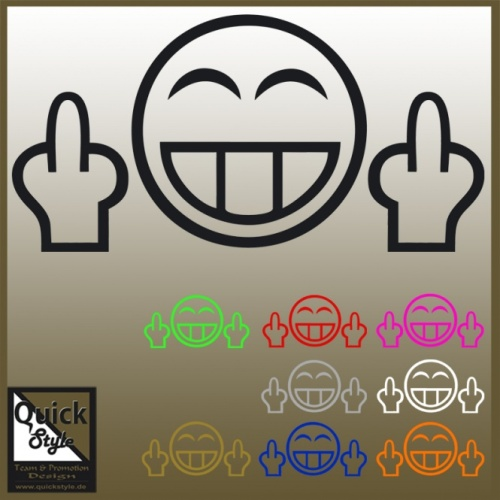 Middle Finger Smiley [F**K OFF] Car Decal / Silhouette / Sticker